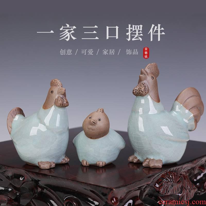 Three chicken furnishing articles animal small adorn article creative mini lovely home desktop decoration ceramics handicraft
