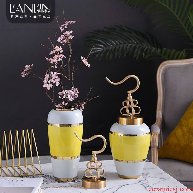 New Chinese style copper cover ceramic vase furnishing articles sitting room simulation flower arranging flowers dried flower decoration simple table decoration