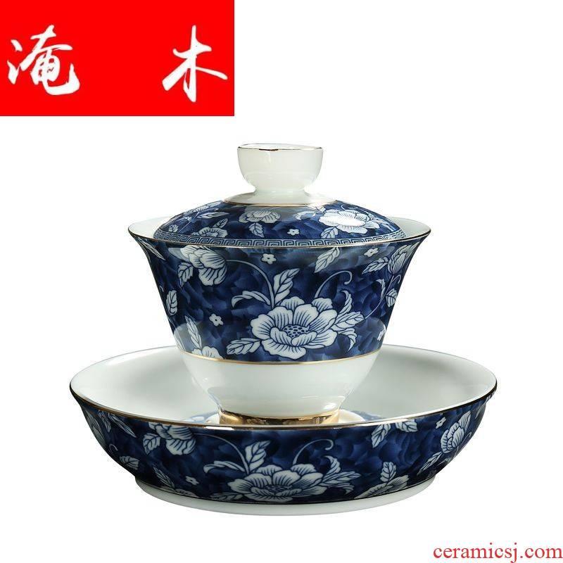 Submerged wood jingdezhen ceramic powder enamel than spend three to use blue tureen colored enamel kung fu tea mercifully carpet of flowers