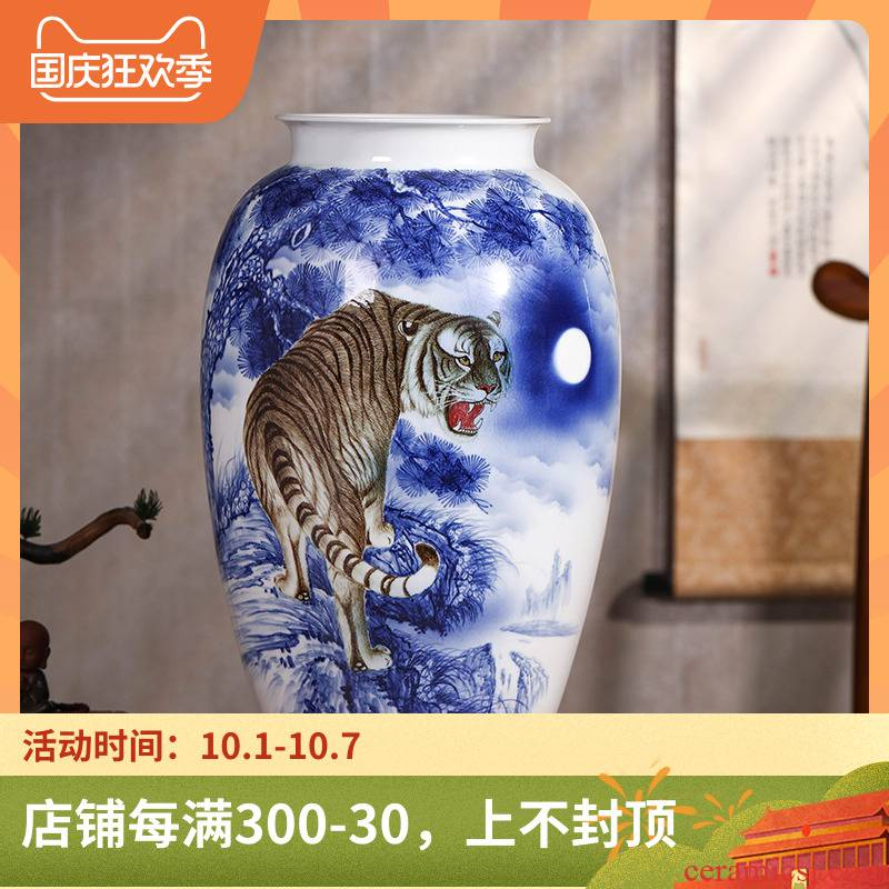 Tiger jingdezhen ceramics hand - made of blue and white porcelain vase large sitting room 50 study home decoration of Chinese style furnishing articles