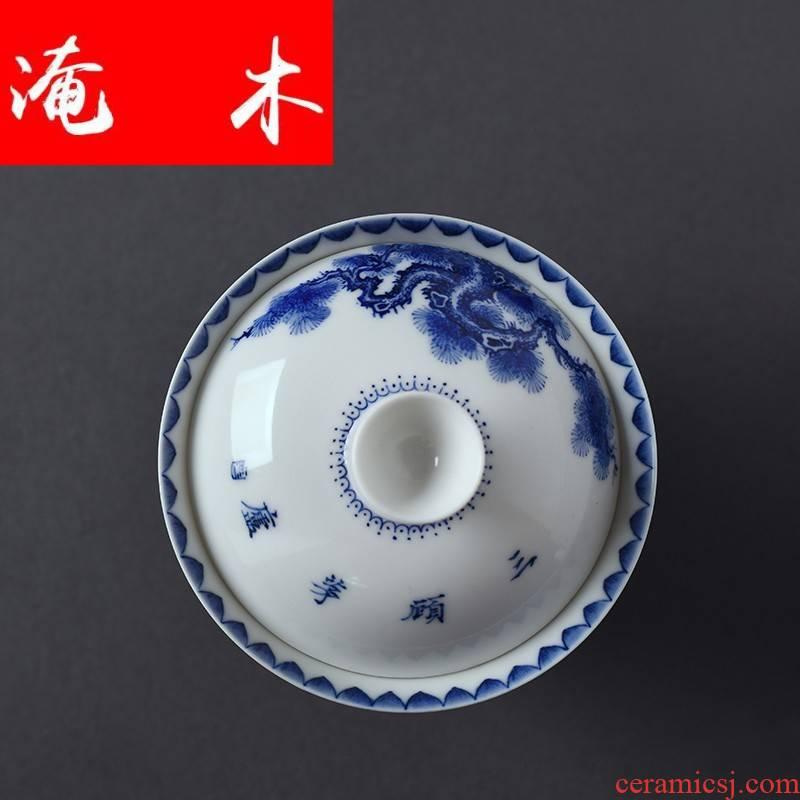 Submerged wood jingdezhen ceramics character of The Three Kingdoms to hand all Three tureen kung fu tea bowl