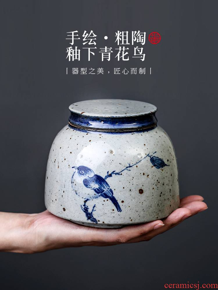 Tea pot ceramic seal hand - made bird creative move fashion household porcelain jar with cover coarse pottery Tea storage tanks