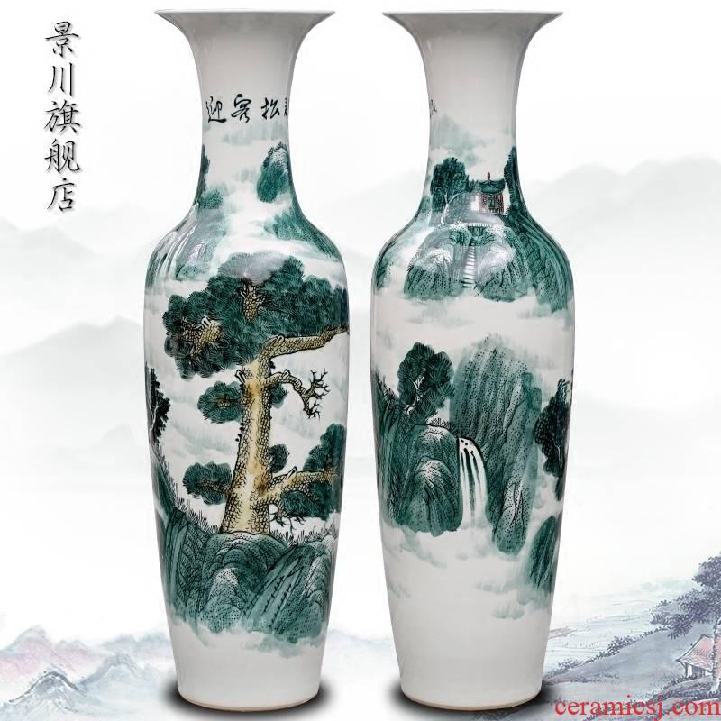 Jingdezhen ceramics hand - made guest - the greeting pine sitting room of large vase furnishing articles furnishing articles hotel opening decorative vase