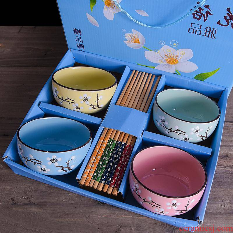 The Japanese kitchen gifts ceramic bowl in creative activities gift chopsticks tableware wedding gift boxes in return
