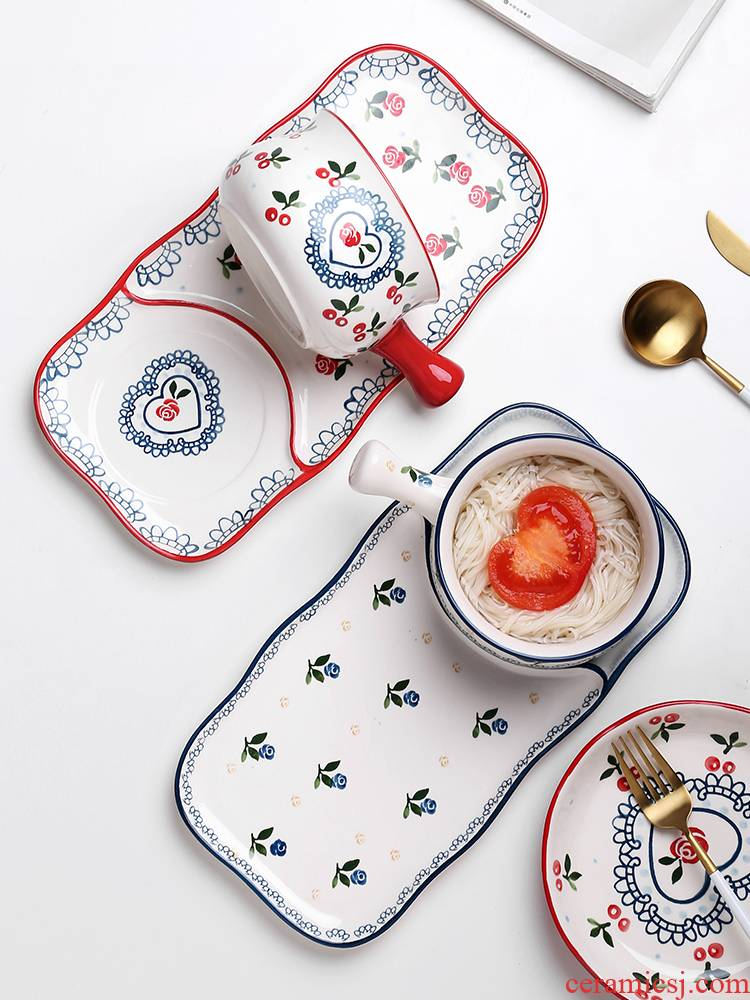 Web celebrity ins wind plate handle breakfast bowl household creative nice meal ceramic plate combination suit