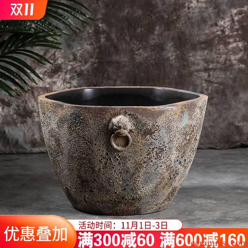 Jingdezhen ceramics manually restoring ancient ways goldfish bowl lotus lotus cylinder flowerpot is suing courtyard garden king