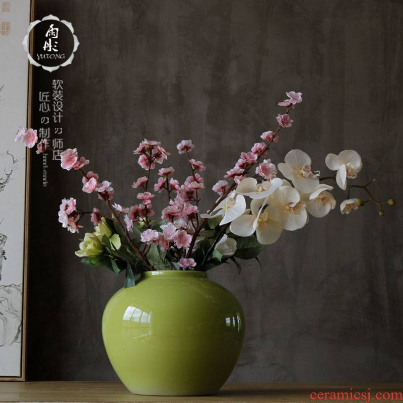 Sitting room booking with jingdezhen creative manual a bigger modern decoration decoration ceramic dry flower flower vase