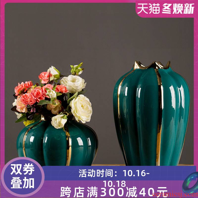 Jingdezhen ceramic vases, new Chinese style light European - style key-2 luxury furnishing articles sitting room dried flowers flower arrangement table household soft adornment