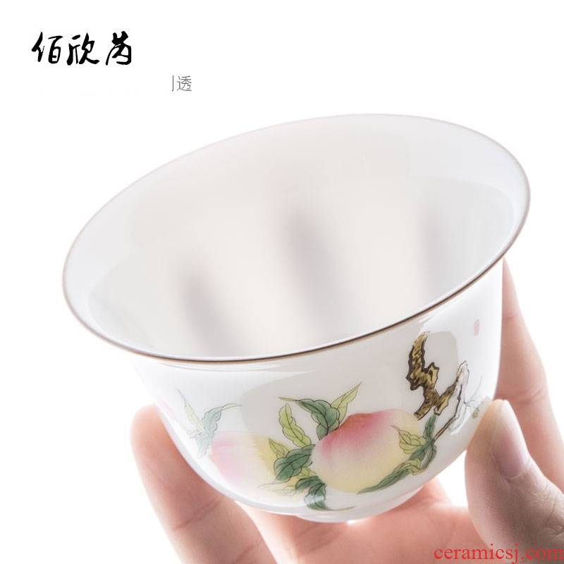 Submerged wood jingdezhen hand - made only three tureen checking out sweet white porcelain ceramic tea cups hot famille rose tea set