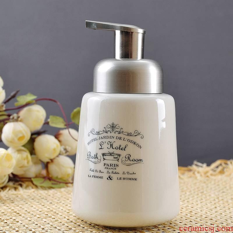 Nordic style bathroom sanitary ware ceramics hand sanitizer packing bottle of body wash cream bottle family pressure fluid bottle