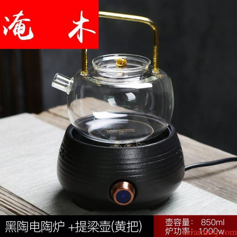 Flooded wood to automatic black pottery cooking kettle boil tea ware ceramic electric TaoLu heat - resistant glass tea pot