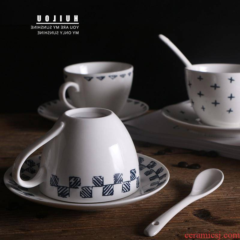 The kitchen ceramic coffee cup milk cup creative restaurant mark cup cafe cups and saucers spoons suit manufacturer