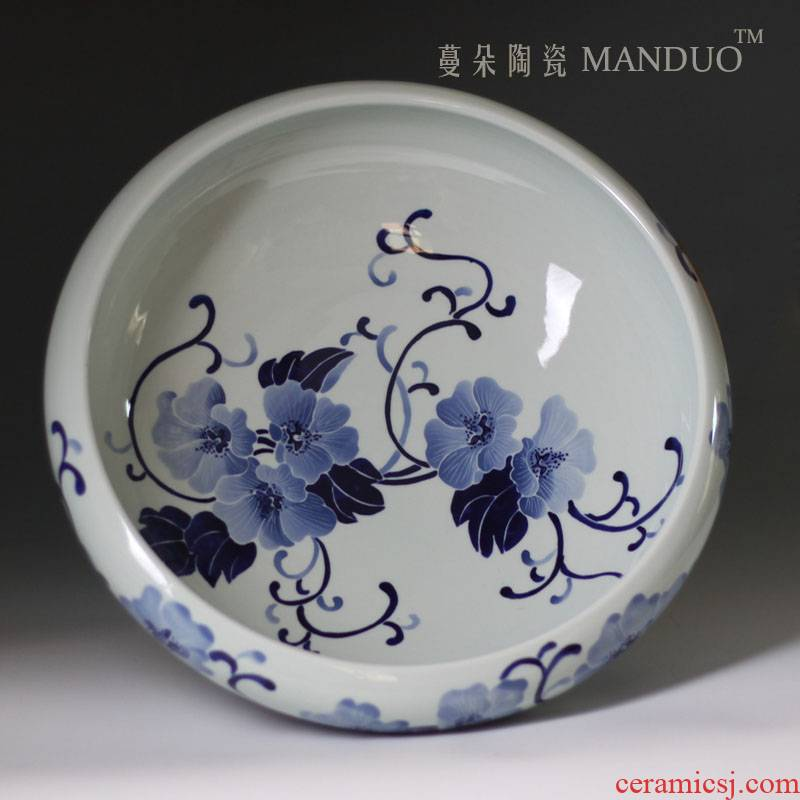 Hand shallow contracted fashion beautiful blue and white porcelain art aquarium goldfish bowl porcelain shallow cylinder