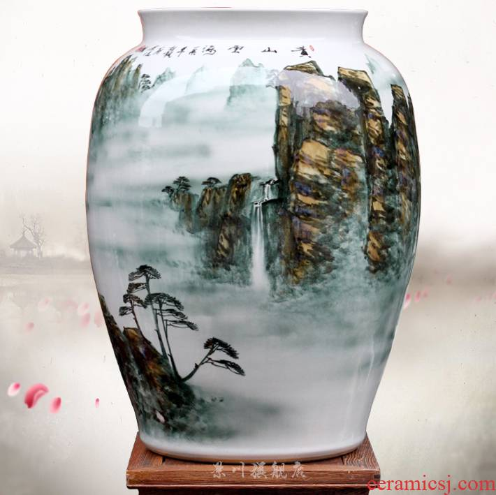 Jingdezhen ceramic vase huangshan sea of clouds, mesa home office hotel the sitting room is the study of modern jewelry furnishing articles