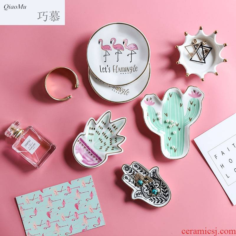 Qiao mu Nordic ins small wind see colour ceramic plate breakfast plate key jewelry receive plate product furnishing articles