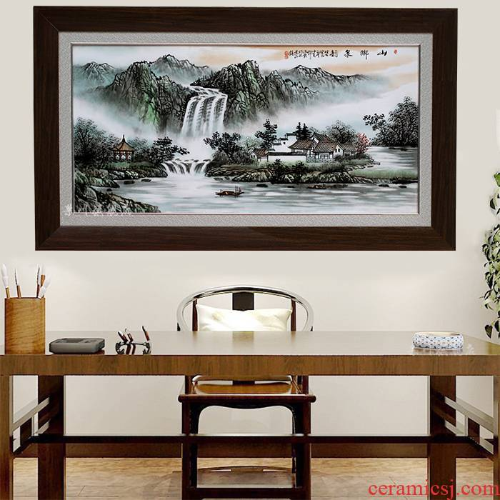 Hand - made ceramic painting as a stream of jingdezhen porcelain plate Chinese style adornment painting the living room sofa setting wall hang a picture