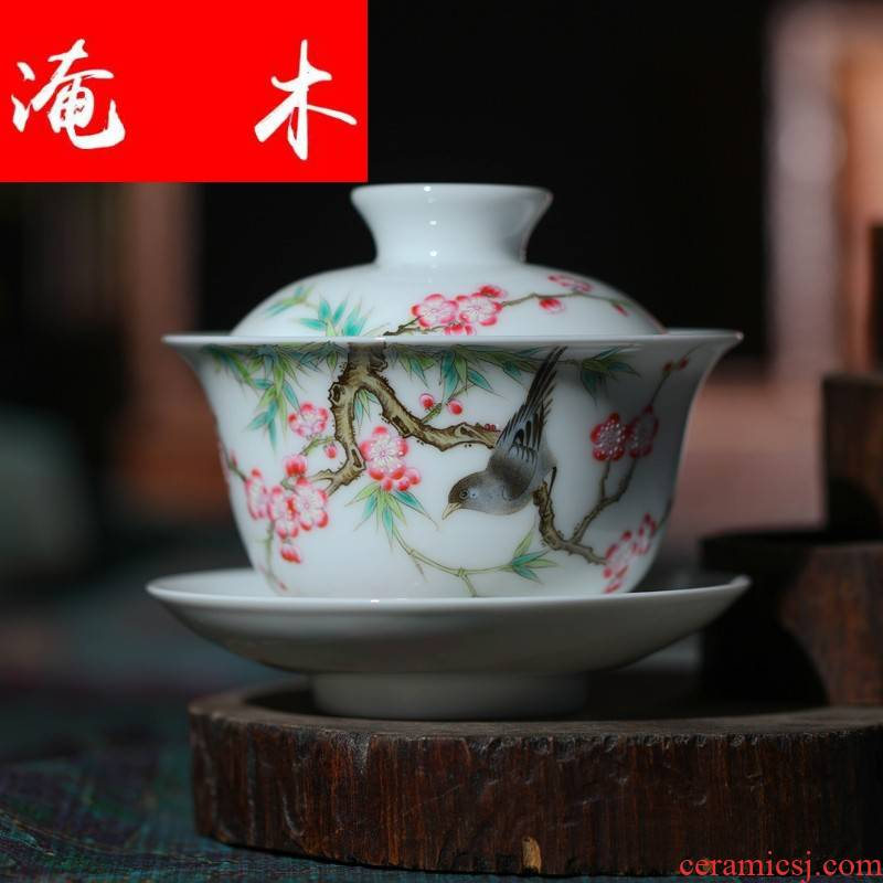 Submerged wood jingdezhen porcelain tea set hand - made pastel only three cup tureen Jin Hongxia hand made ceramic tea bag in the mail