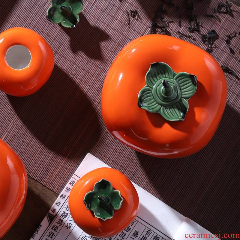 Everything is going well with ceramic little persimmon tea pot small seal wake receives creative household act the role ofing is tasted handicraft furnishing articles