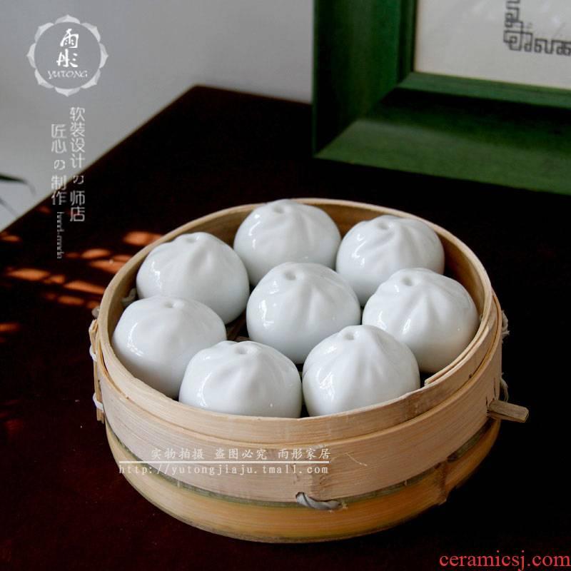 Steamed stuffed bun ceramics handicraft Steamed stuffed bun car decoration ceramics jingdezhen ceramics space home decoration furnishing articles