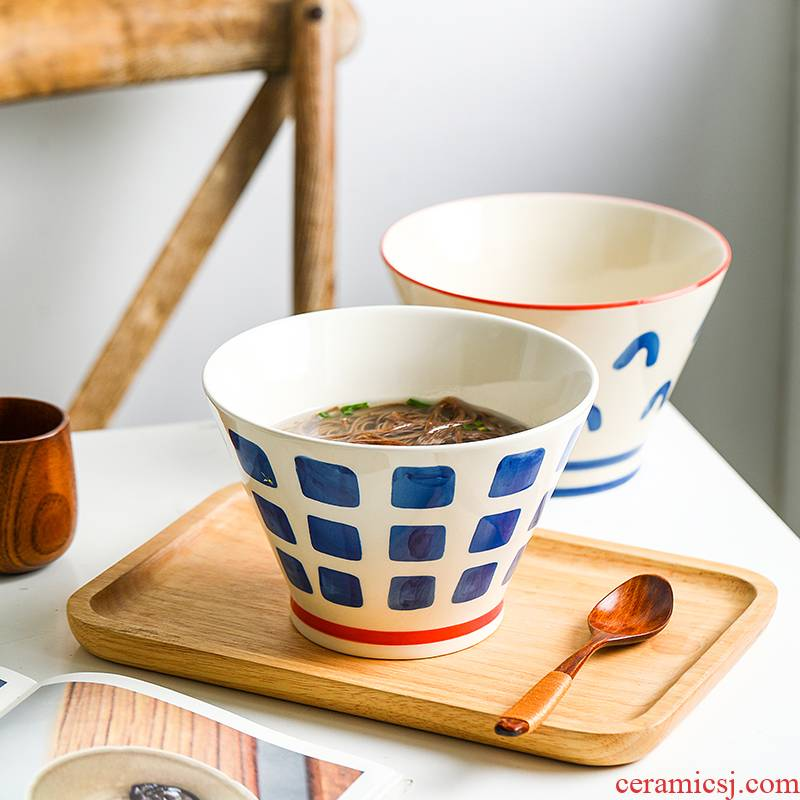 Japanese under the glaze color, rainbow such use household creative hat to large bowl of jingdezhen ceramic tableware large bowl of such soup bowl