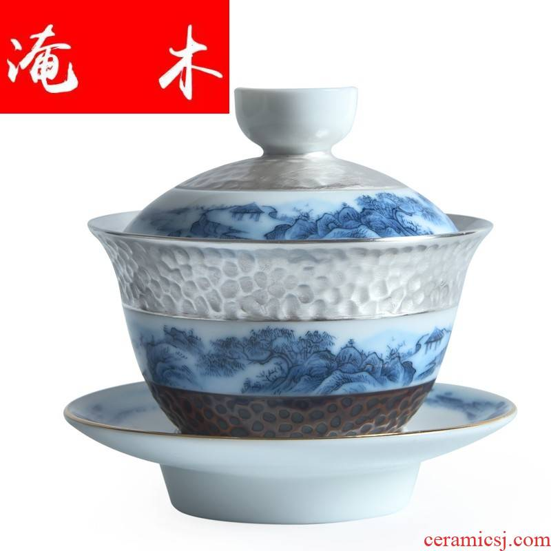 Submerged wood jingdezhen great rivers, silver tureen ceramic kung fu tea tasted silver gilding tureen bowl three cups