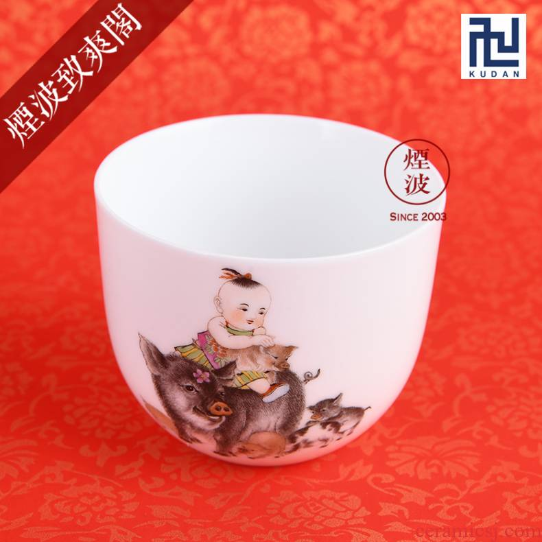 Those nine calcinations hand - made famille rose porcelain jingdezhen experienced painters set f coagulation cup pig chicken cylinder