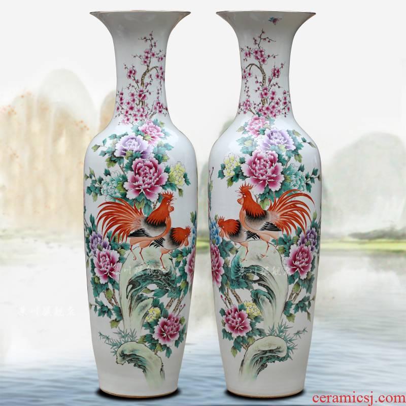 Jingdezhen ceramics hand - made rooster peony pastel landing big vase sitting room hotel decoration furnishing articles