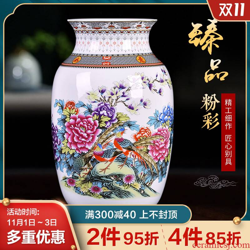 Porcelain of jingdezhen ceramic vases, antique flower arrangement of Chinese style household decoration as porch study of TV ark, furnishing articles