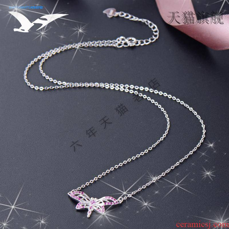 Trill paragraphs with TK925 silver red charity necklace with web celebrity female ceramic contracted male spring is small