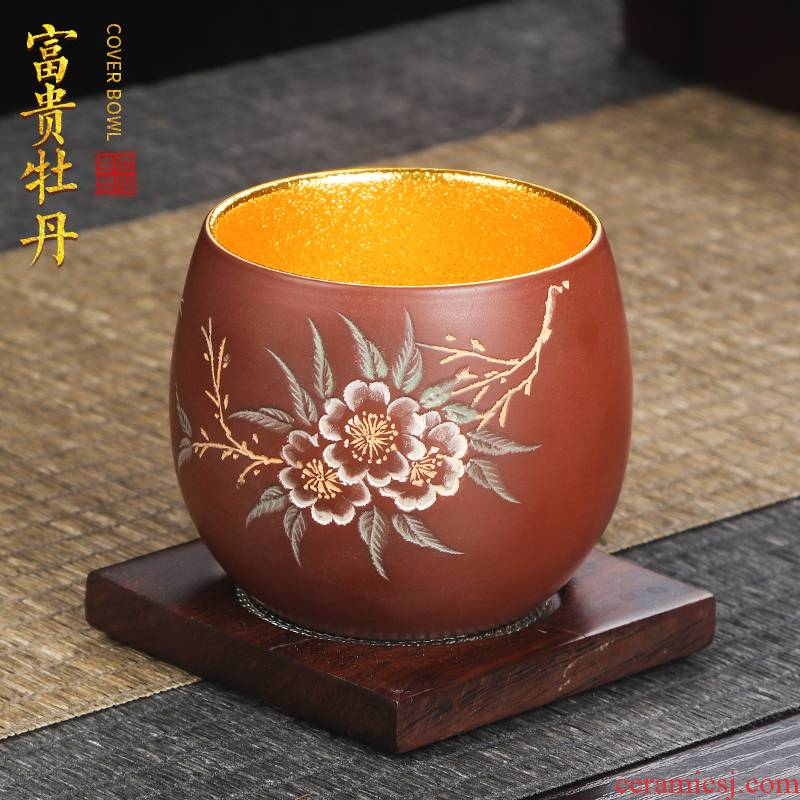 Artisan fairy gold cup kung fu tea master cup single CPU checking ceramic household sample tea cup bowl cups of tea