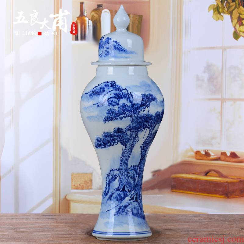 Jingdezhen blue and white porcelain hand - made bottle is empty wine bottles of household 2 jins of general mercifully bottles sealed as cans bottles