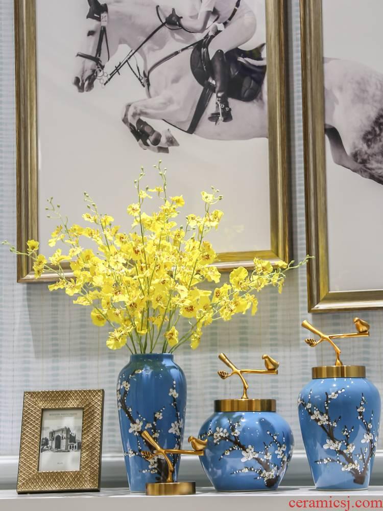 New Chinese style of jingdezhen ceramic vase furnishing articles bronze sitting room TV cabinet table light key-2 luxury home decoration flower receptacle