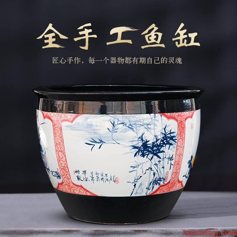 Jingdezhen ceramic aquarium fish bowl lotus basin water lily cylinder cylinder to heavy tank sitting room feng shui plutus aquarium