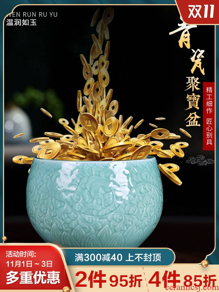 Jingdezhen ceramic lucky cornucopia furnishing articles and sitting room of Chinese style household decorates porch feng shui handicraft furnishing articles