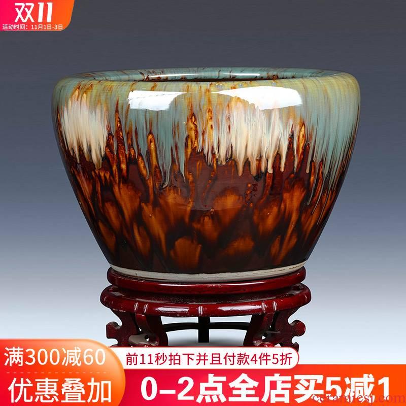 Jingdezhen ceramic goldfish bowl restoring ancient ways is oversized furnishing articles turtle cylinder sitting room balcony bowl lotus lotus lotus basin