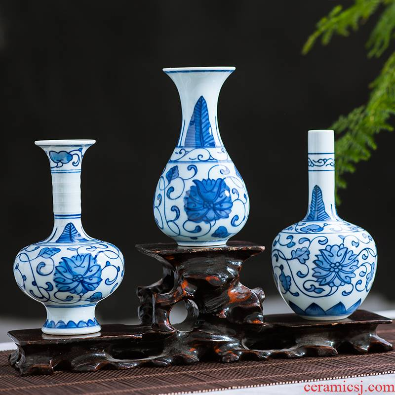 Jingdezhen ceramics antique blue - and - white hand - made mini floret bottle of flower tea hydroponic creative rich ancient frame furnishing articles