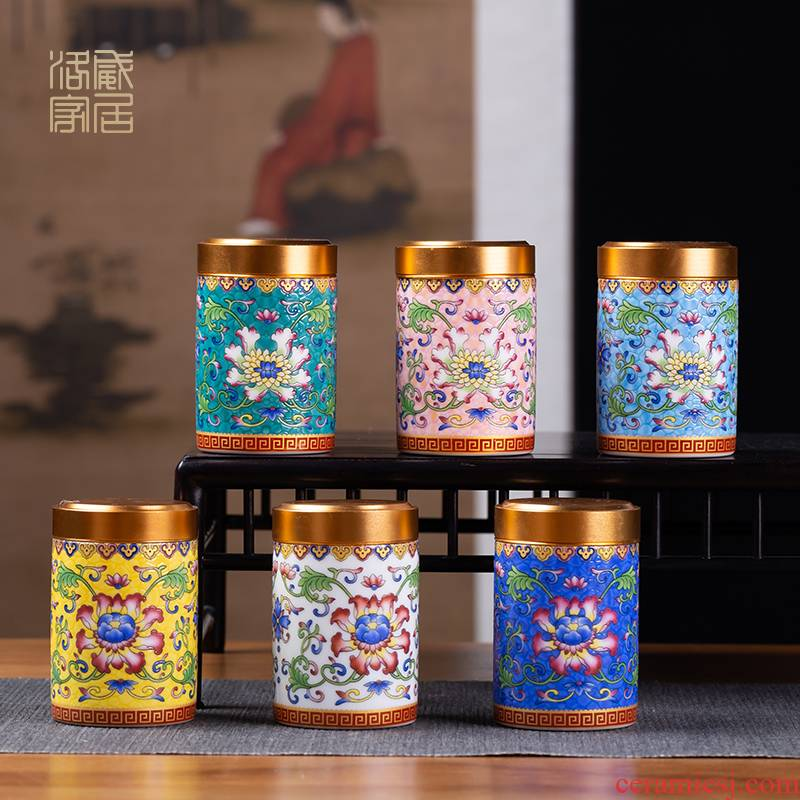 Blower, caddy fixings jingdezhen ceramic colored enamel small mini seal pot store household receives portable travel