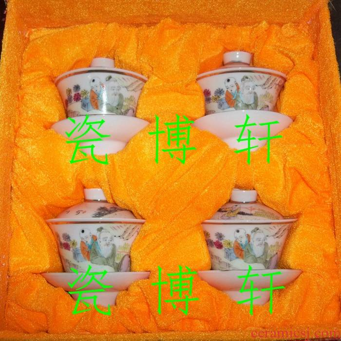 Submerged wood factory of jingdezhen porcelain goods/ceramic famille rose hand - made shallow purple color man and children tureen/kung fu tea set