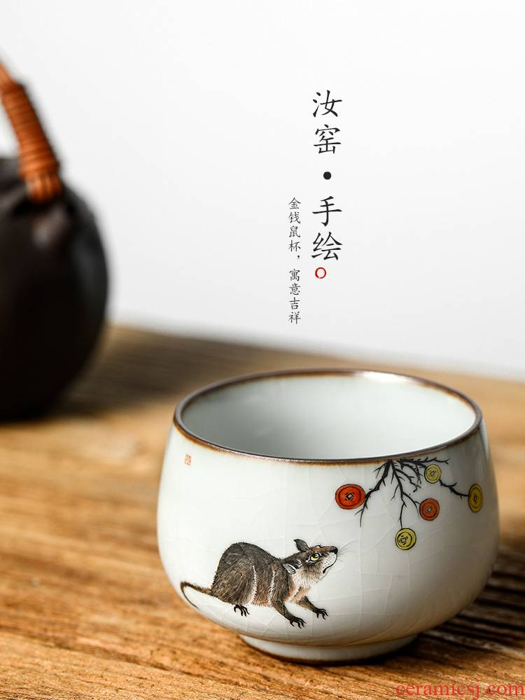 Jingdezhen tea zodiac rat master cup single cup your up hand - made kung fu tea cups ceramic sample tea cup by hand