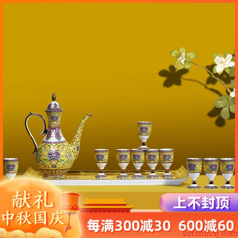 Artisan fairy colored enamel ceramic wine suits for liquor household of Chinese style of archaize court points creative wine glass