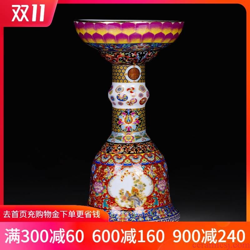 Jingdezhen ceramics the qing yongzheng creative colored enamel vase furnishing articles classical home sitting room porch decoration