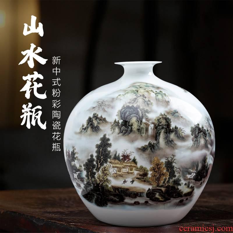 Landscape painting porcelain of jingdezhen ceramics vase pomegranate bottles of new Chinese style household furnishing articles sitting room porch decoration