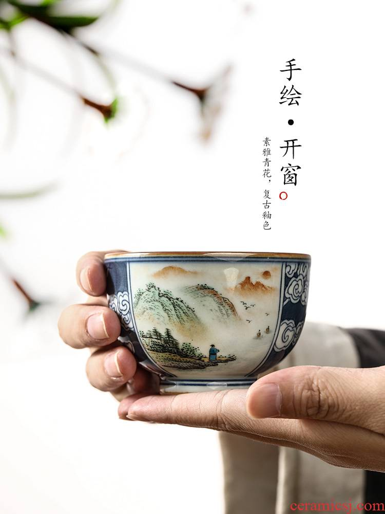 Jingdezhen blue and white master cup single cup pure manual sample tea cup single bucket kung fu tea teacups hand - made of scenery