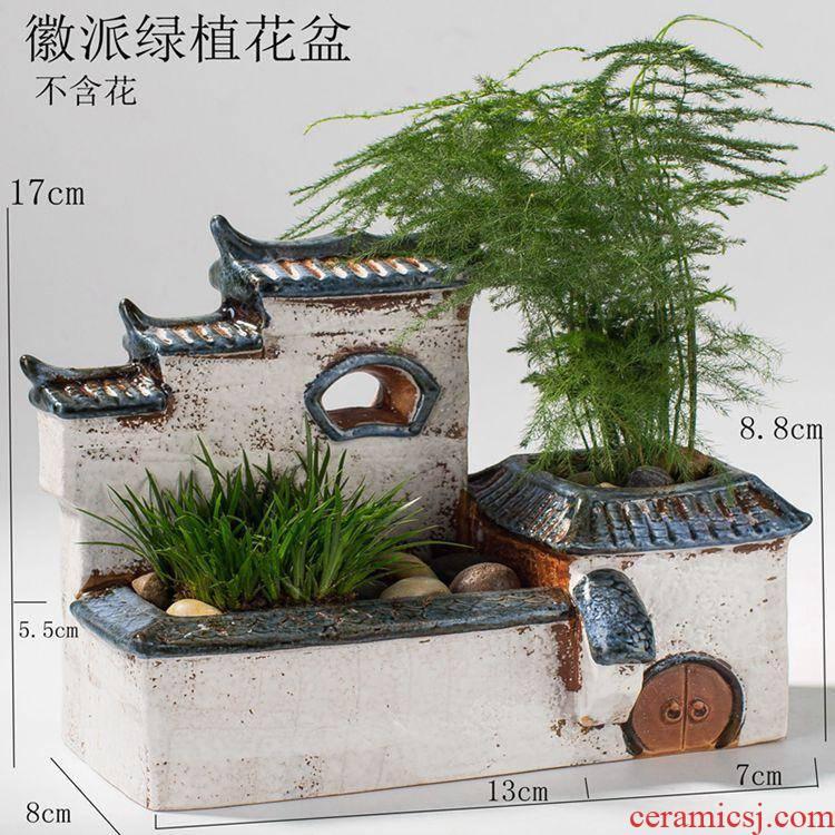 Office air large asparagus zen garden house home decoration is placed little old running the fleshy flowerpot ceramics
