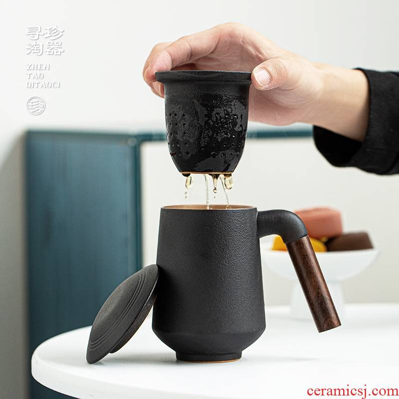 Jane tao machine mugs ceramic cups with cover to filter the ebony handle office household separation of tea cups