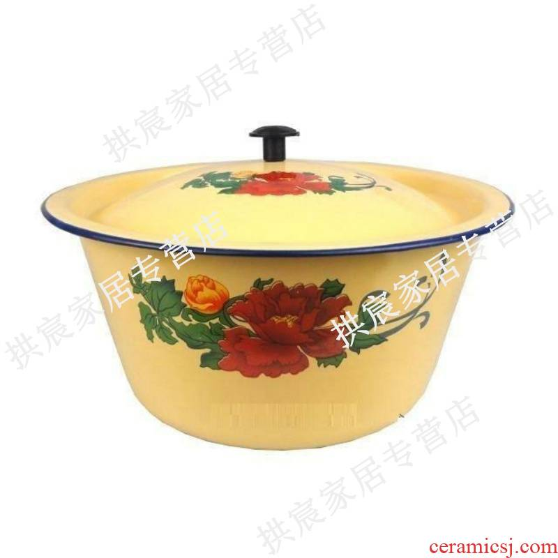 Enamel soup bowl basin thickening magnetic magnetic ceramic POTS home little and the basin that wash a face with cover large capacity in the kitchen