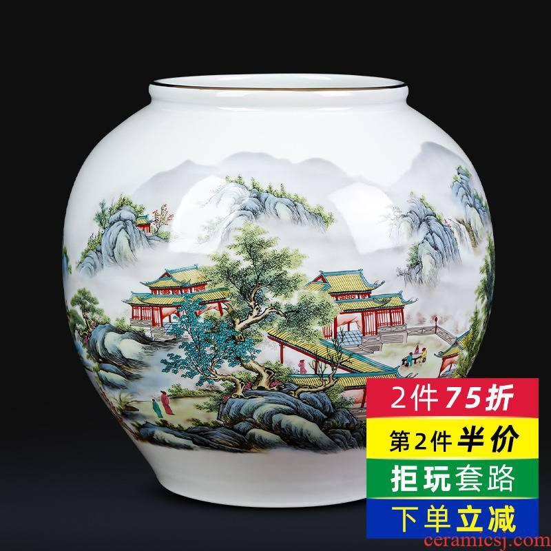 Jingdezhen ceramics vases newest autumn YunJing day big round pot Chinese style living room TV ark adornment furnishing articles