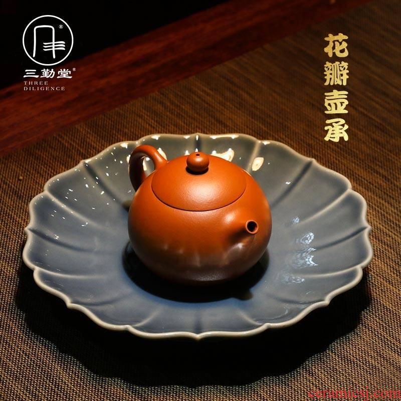 The three regular dry plate kunfu tea home snacks tea tray bearing pot S72053 jingdezhen ceramic tea set furnishing articles