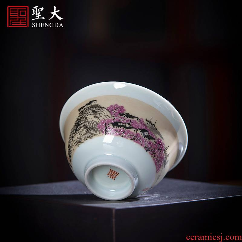 Santa teacups hand - made ceramic kung fu new color poetry peach brook masters cup sample tea cup full manual of jingdezhen tea service