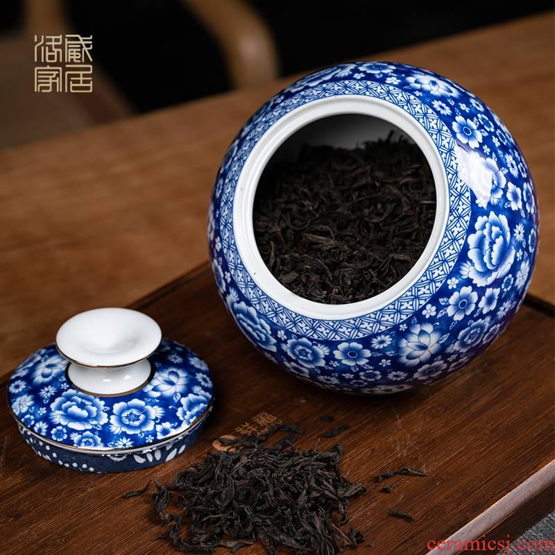 Detong, jingdezhen blue and white porcelain tea pot seal pot ceramics large heavy large household store tea pot